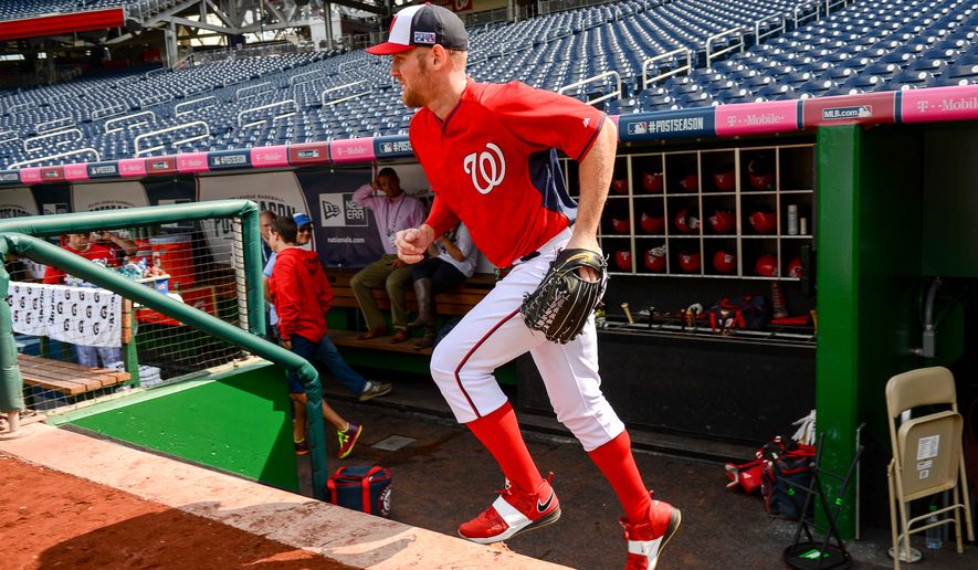 Washington Nationals starting pitcher Stephen Strasburg (37) takes the field during team practice the day before they play the San Francisco Giants at Nationals Park for Game 1 of the National League Division Series, Washington, D.C., Thursday, October 2, 2014. (Andrew Harnik/The Washington Times)