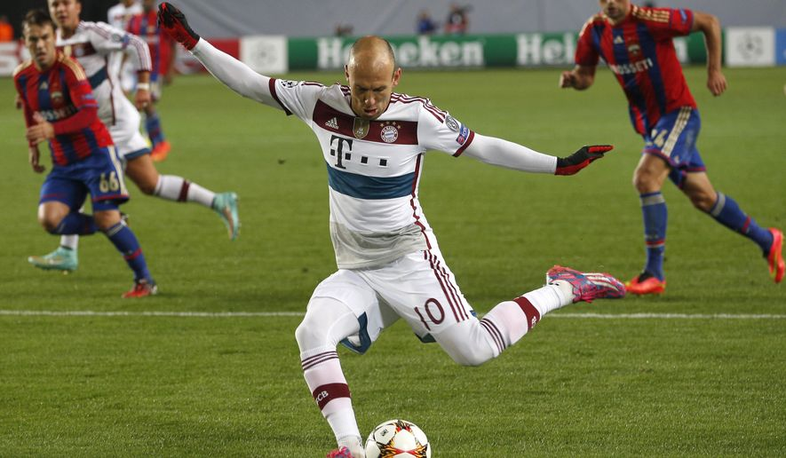 Bayern's Arjen Robben attempts a shot on goal during the Group E Champions League match between CSKA Moscow and Bayern Munich at Arena Khimki stadium in Moscow, Russia, Tuesday Sept. 30, 2014. (AP Photo/Pavel Golovkin)