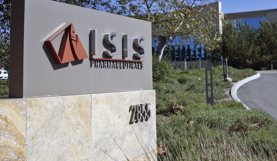 This Monday, Sept. 29, 2014 photo shows signage outside the headquarters building of Isis Pharmaceuticals Inc. in Carlsbad, Calif.  The pharmaceutical company, which shares its name with ISIS, a notorious Islamic militant group that the United States is fighting in Iraq and Syria, has no plans to change a brand it has built over 25 years. (AP Photo/Lenny Ignelzi)