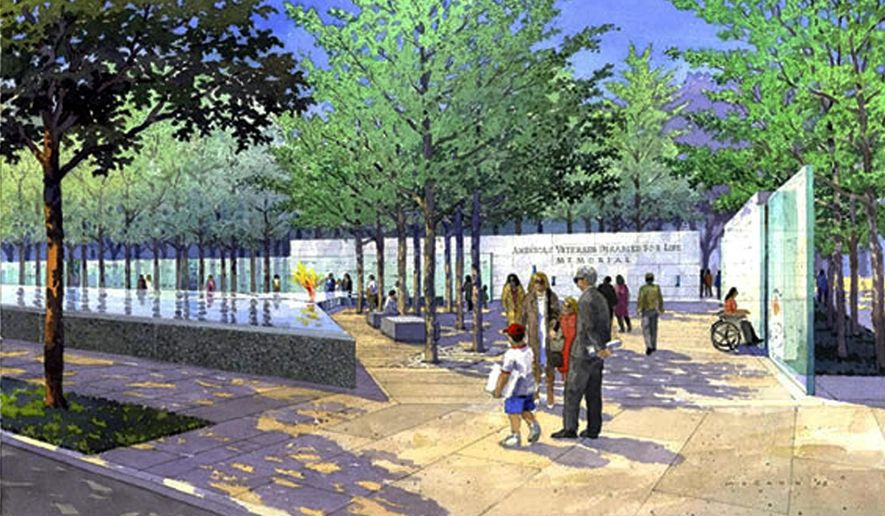 In this watercolor illustration provided by the Veterans Disabled for Life Foundation, people stroll through the memorial for disabled veterans. The American Disabled for Life Memorial will be dedicated in Washington on Sunday, Oct. 5, 2014. Florida socialite Lois Pope donated $10 million for the memorial construction. (AP Photo/VDFL Foundation, Michael McCann)