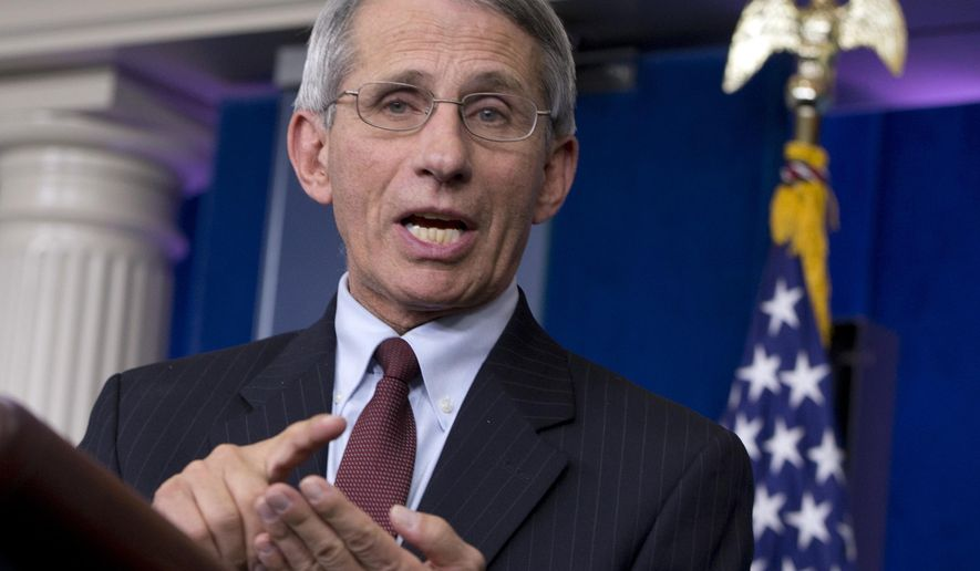 Director of the National Institute of Allergy and Infectious Diseases at the National Institutes of Health Dr. Anthony S. Fauci speaks in the James S. Brady Press Briefing Room in White House in Washington, Friday, Oct. 3, 2014, about the U.S. Government's response to the Ebola epidemic in West Africa. (AP Photo/Carolyn Kaster)
