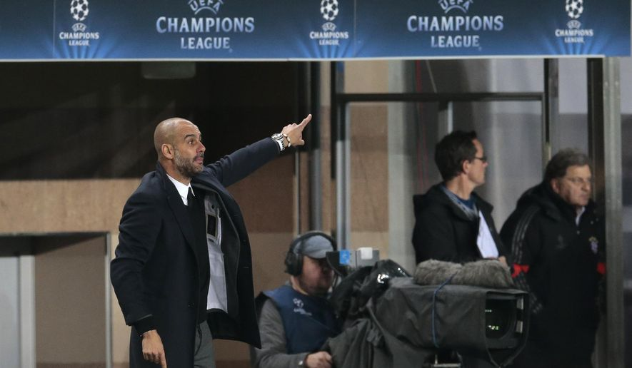 Bayern's head coach Pep Guardiola shouts orders during the Champions League Group E soccer match between CSKA Moscow and Bayern Munich at the Arena Khimki stadium in Moscow, Russia, Tuesday Sept. 30, 2014. (AP Photo/Ivan Sekretarev)