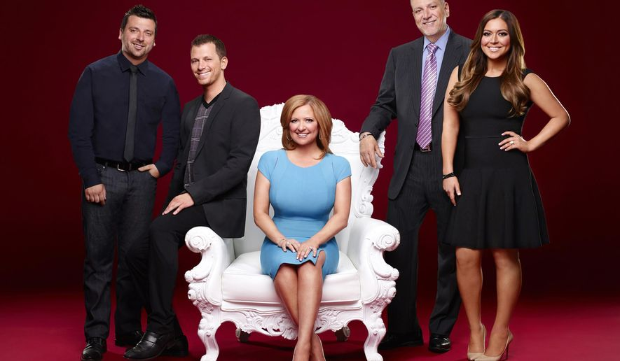"""In this image released by Bravo, the Manzo family, from left, Christopher, Albie, Caroline, Al, and Lauren, appear in a portrait to promote their reality show, """"Manzo'd with Children,"""" premiering Oct. 5, at 9 p.m. on Bravo. (AP Photo/Bravo, Robert Ascroft)"""
