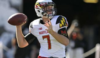 Maryland quarterback Caleb Rowe throws during the second half of an NCAA college football game against Indiana Saturday, Sept. 27, 2014, in Bloomington, Ind. Maryland defeated Indiana 37-15. (AP Photo/Darron Cummings)