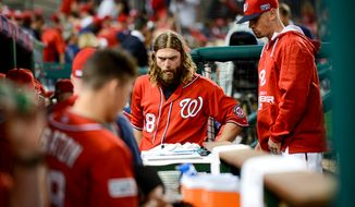 Washington Nationals right fielder Jayson Werth (28) comes into the dugout after the Washington Nationals lose to the San Francisco Giants 3-2 at Nationals Park for Game 1 of the National League Division Series, Washington, D.C., Friday, October 3, 2014. (Andrew Harnik/The Washington Times)