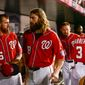 Nationals players head to the locker room after the Washington Nationals lose to the San Francisco Giants 3-2 at Nationals Park for Game 1 of the National League Division Series, Washington, D.C., Friday, October 3, 2014. (Andrew Harnik/The Washington Times)