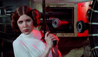 Princess Leia Organa of Alderaan, portrayed by actress Carrie Fisher in the Star Wars series.