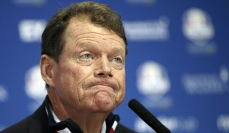 US team captain Tom Watson attends a press conference after Europe won the 2014 Ryder Cup golf tournament at Gleneagles, Scotland, Sunday, Sept. 28, 2014. (AP Photo/Alastair Grant)