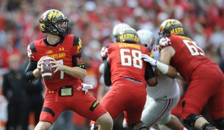 Maryland quarterback Caleb Rowe looks to pass against Ohio State during the second half of an NCAA college football game in College Park, Md., Saturday, Oct. 4, 2014. Ohio State won 52-24. (AP Photo/Gail Burton)