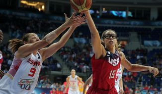 Laia Palau, left, of Spain, and Brittney Griner of the U.S., fight for the ball during the Basketball World Championship for Women's final, at Fenerbahce Arena in Istanbul, Turkey, Sunday, Oct. 5, 2014. (AP Photo)