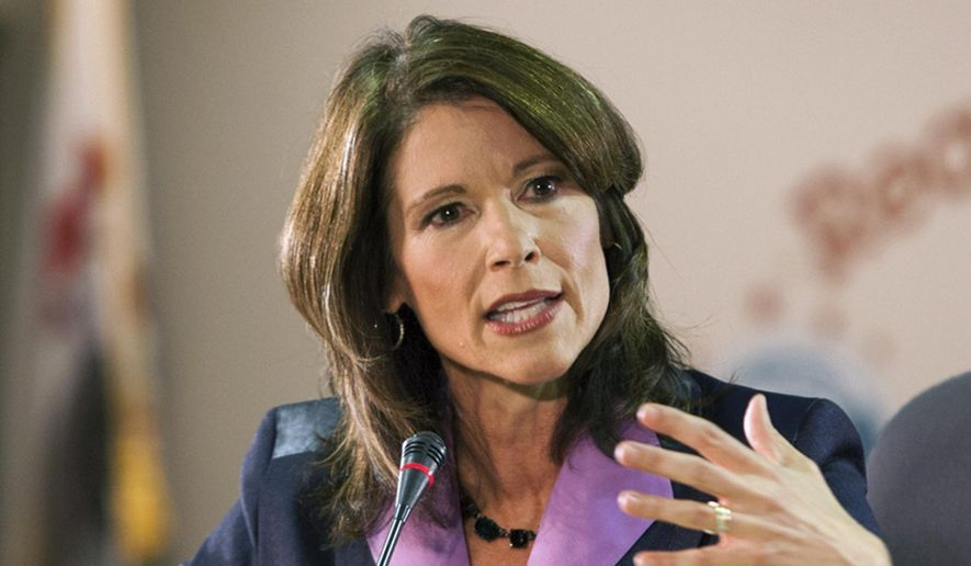In this Oct. 17, 2012, file photo, incumbent Democratic U.S. Rep. Cheri Bustos speaks during the 17th Congressional District debate in Rockford, Ill. (AP Photo/Rockford Register Star, Scott Morgan, File)