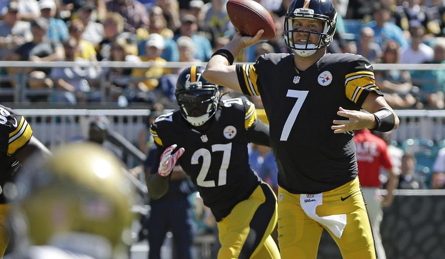 Pittsburgh Steelers quarterback Ben Roethlisberger (7) throws a pass against the Jacksonville Jaguars during the first half of an NFL football game in Jacksonville, Fla., Sunday, Oct. 5, 2014. (AP Photo/Stephen B. Morton)