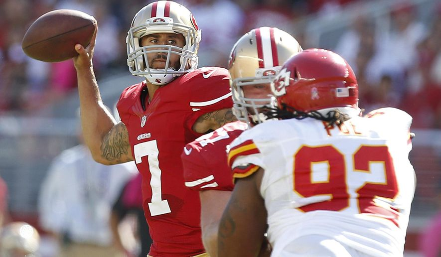 San Francisco 49ers quarterback Colin Kaepernick (7) passes against the Kansas City Chiefs during the second quarter of an NFL football game in Santa Clara, Calif., Sunday, Oct. 5, 2014. (AP Photo/Tony Avelar)