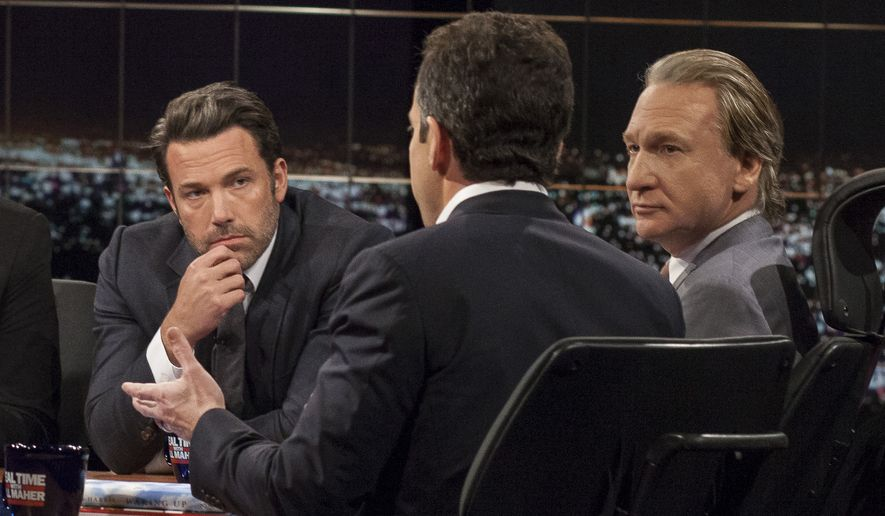 """In this Friday, Oct. 3, 2014, image released by HBO, host Bill Maher, right, and actor Ben Affleck, left, look on as Sam Harris, author of """"Waking Up: A Guide to Spirituality Without Religion"""", speaks during """"Real Time With Bill Maher,"""" in Los Angeles. (AP Photo/HBO)"""