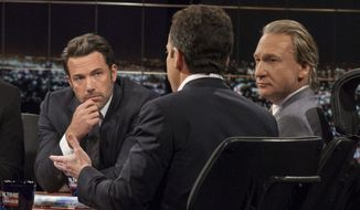"In this Friday, Oct. 3, 2014, image released by HBO, host Bill Maher, right, and actor Ben Affleck, left, look on as Sam Harris, author of ""Waking Up: A Guide to Spirituality Without Religion"", speaks during ""Real Time With Bill Maher,"" in Los Angeles. (AP Photo/HBO)"