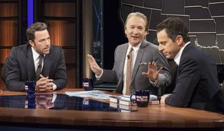"""HBO's Bill Maher, center, talks with actor Ben Affleck, left, and Sam Harris, author of """"Waking Up: A Guide to Spirituality Without Religion"""", during """"Real Time With Bill Maher,"""" in Los Angeles, Oct. 3, 2014. (AP Photo/HBO) ** FILE**"""