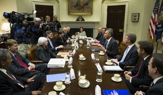 President Barack Obama meets with financial regulators in the Roosevelt Room of the White House in Washington, Monday, Oct. 6, 2014. From left, Director of the Federal Housing Finance Agency Mel Watt, Director of the Consumer Financial Protection Bureau Richard Cordray, Federal Reserve Chair Janet Yellen, Treasury SecretaryJacob Lew, Securities and Exchange Commission (SEC) Chair Mary Jo White, Commodity Futures Trading Commission (CFTC) Chairman Tim Massad,  Federal Deposit Insurance Corporation (FDIC) Chairman Martin Gruenberg, Deputy Treasury Secretary Sarah Bloom Raskin, White House Council Neil Eggleston, Council of Economic Advisers Chairman Jason Furman, Obama, Budget Director Shaun Donovan, Deputy Budget Director Brian Deese, and Special Assistant to the President for Economic Policy Seth Wheeler. (AP Photo/Evan Vucci)