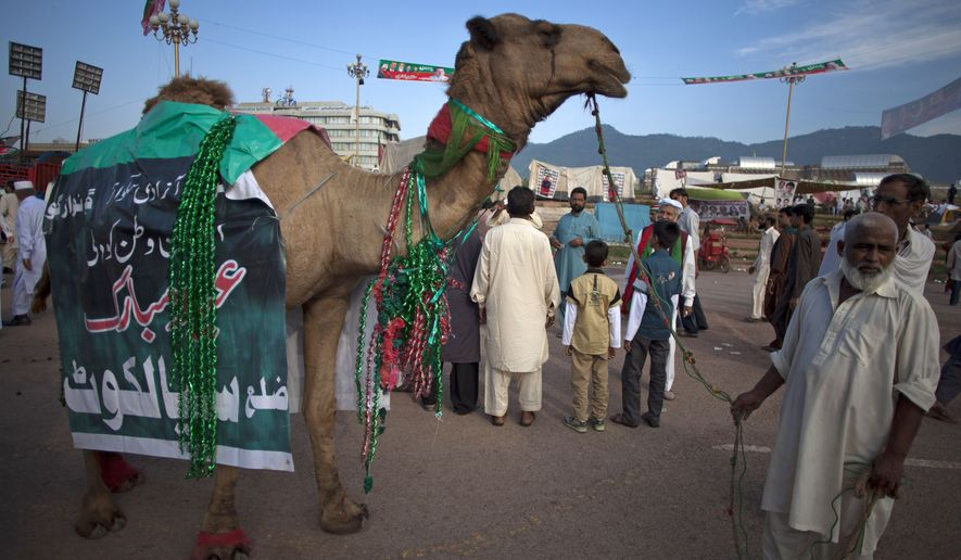 "A man parades a camel with a banner that reads, ""go Nawaz go,"" outside a parliament building where anti-government protesters are gathered, on Eid al-Adha, or ""Feast of Sacrifice,"" in Islamabad, Pakistan, Monday, Oct. 6, 2014.  On the start of Eid holiday, Muslims slaughter sheep, cattle and other livestock, and give part of the meat to the poor. The holiday began Monday in Pakistan. (AP Photo/B.K. Bangash) ** FILE **"