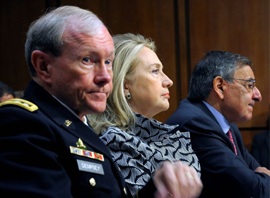 "Departed: Obama Cabinet members, including Joint Chiefs of Staff Chairman Gen. Martin E. Dempsey (left), former Secretary of State Hillary Rodham Clinton (center) and former Defense Secretary Leon E. Panetta (right) have publicly aired their grievances with the president. Mr. Panetta's new book, ""Worthy Fights,"" criticizes Mr. Obama's policies. (Associated Press)"