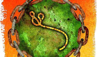 Ebola virus Lock Down Illustration by Greg Groesch/The Washington Times