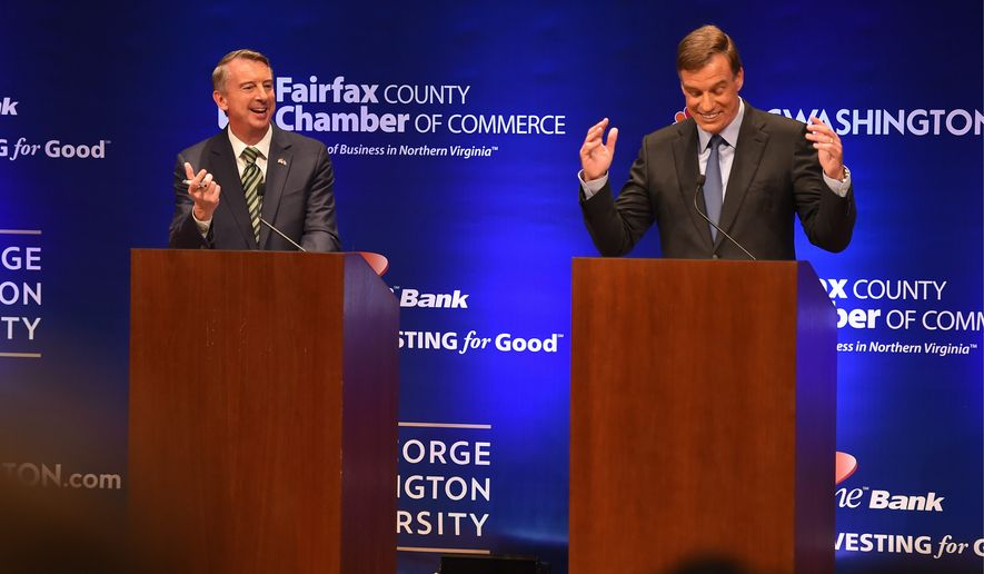 Democratic Sen. Mark Warner and his Republican challenger, Ed Gillespie, agreed on foreign policy and other issues but showed stark differences elsewhere. (Associated Press)