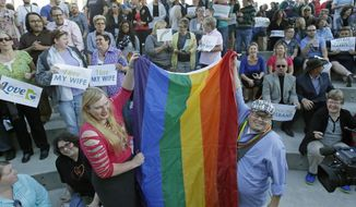 Same-sex couples in Salt Lake City celebrated Monday after the U.S. Supreme Court cleared the way for gay marriages to begin in Utah and 30 other states. However, governors and attorneys general in states like North Carolina, Wyoming and West Virginia maintain the fight for traditional marriage isn't over. (Associated Press)