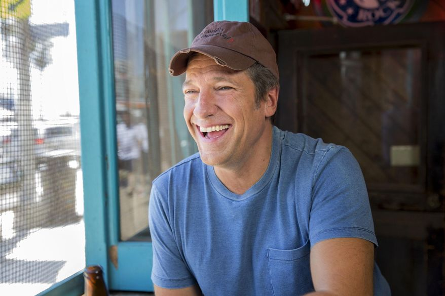 """Mike Rowe appears in a promotional shoot for the series """"Somebody's Gotta Do It"""" in Venice, California, Aug. 21, 2014. (AP Photo/CNN, Jeremy Freeman) ** FILE **"""