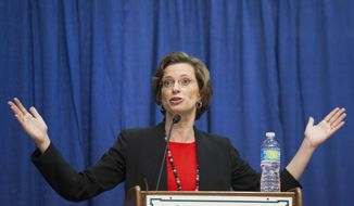 Georgia Democratic candidate for U.S. Senate Michelle Nunn speaks during a debate, Tuesday, Oct. 7, 2014, in Perry, Ga. (AP Photo/David Goldman)