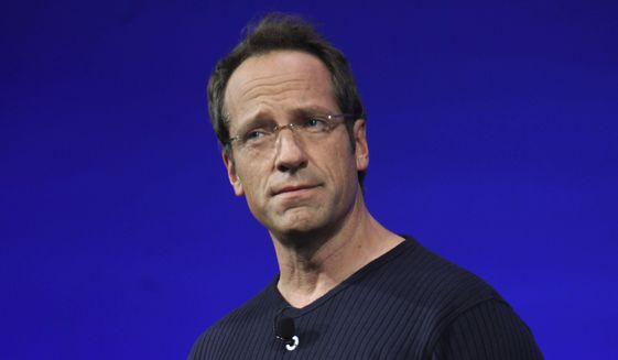 """Mike Rowe speaks during Discovery Channel's 2010-11 upfront presentation in New York, April 8, 2010. Mr. Rowe's new travelogue program, """"Somebody's Gotta Do It,"""" is a key part of CNN's strategy for the future. It debuts Wednesday at 9 p.m. EDT. (AP Photo/Mary Altaffer) ** FILE **"""