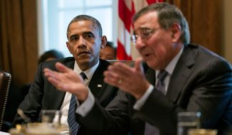 President Barack Obama listens as Defense Secretary Leon Panetta speaks during a Cabinet meeting in the Cabinet Room of the White House, Nov. 28, 2012. (Official White House Photo by Pete Souza)