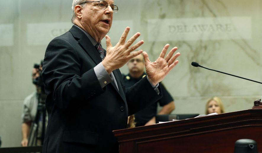 "Attorney Steven Wise of the Nonhuman Rights Project argues on behalf of Tommy, a chimpanzee, before the New York Supreme Court Appellate Division on Wednesday, Oct. 8, 2014, in Albany, N.Y. The court will decide whether chimpanzees should be declared ""persons"" rather than ""things"" so the animals can be freed from what critics call inhumane imprisonment. (AP Photo/Mike Groll)"
