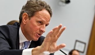 Treasury Secretary Timothy Geithner testifies on Capitol Hill in Washington, in this July 25, 2012 file photo. Geithner, a key player in the U.S. government's 2008 bailout of American International Group Inc., is due back in court Wednesday Oct. 8, 2014 in a trial of a lawsuit filed by the insurance giant's former CEO over the handling of the rescue. (AP Photo/J. Scott Applewhite. File)-FILE