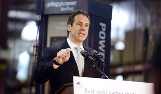 New York Gov. Andrew Cuomo speaks at the Plug Power Inc., plant in Latham, N.Y., Wednesday, Oct. 8, 2014. (AP Photo/The Albany Times Union, Will Waldron) ** FILE **