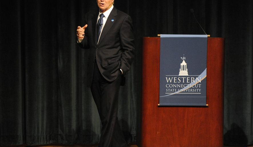"NCAA President Mark Emmert speaks about ""The Collegiate Model for the 21st Century"" at Western Connecticut State University in Danbury, Conn., Wednesday, Oct. 8, 2014. (AP Photo/The News-Times, Tyler Sizemore)"