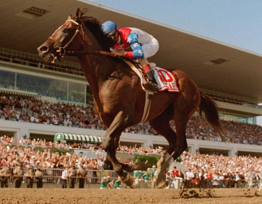 FILE - In this July 13, 1996, file photo, Jerry Bailey rides Cigar to victory in the Arlington Citation Challenge, in Arlington Heights, Ill. Cigar, the two-time Horse of the Year whose 16-race winning streak is considered one of racing's greatest achievements, died Tuesday night, Oct. 7, 2014, in Lexington, Ky.  He was 24. (AP Photo/Jane Gibson, File)