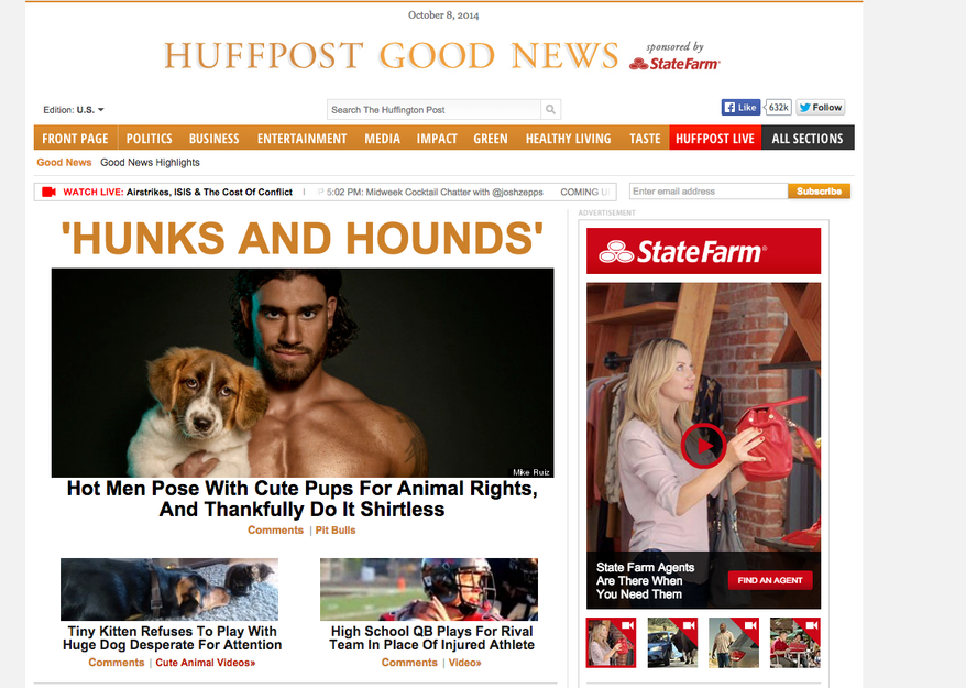 The Huffington Posts' HuffPost Good News website has become one of the most successful positive news sites, with 5.5 million unique viewers in August, an increase of 85 percent over the previous year, according to comScore. Although the entire website received 115 million unique views in August, the good news section attracted about 5 percent of that total to create a viable niche. (Credit: Screenshot HuffPost Good News)