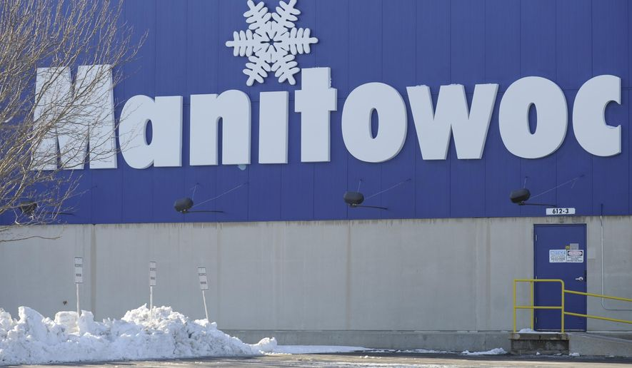 FILE - This Dec. 22, 2012, file photo shows the exterior of Manitowoc Ice in Manitowoc, Wisc. According to a notice filed with the state Department of Workforce Development, a second round of layoffs will take place at Manitowoc Ice in early December. (AP Photo/Herald-Times Reporter, Matthew Apgar, file)