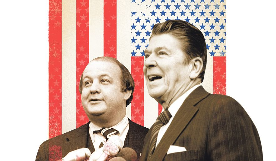 Illustration of Jim Brady and Ronald Reagan by Linas Garsys/The Washington Times