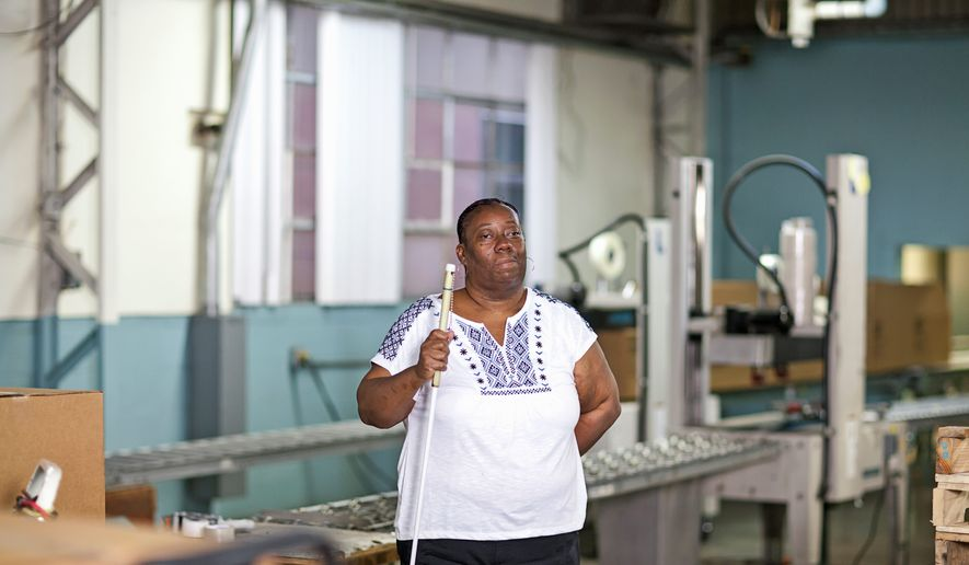 Sybill Mikell has worked making mess trays and other products produced by Lighthouse for the Blind for decades, but shes facing the loss of her job because of a change in government procurement rules. Photo credit: Mary Lou Uttermohlen