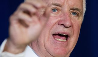 Pennsylvania Republican Gov. Tom Corbett, who is seeking a second term, speaks during a Oct. 9 rally at Valley Forge Military Academy in Wayne, Pa. (Associated Press)