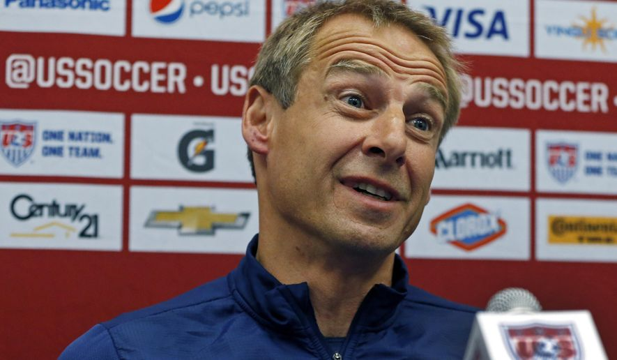 United States soccer head coach Jurgen Klinsmann speaks about the legacy of  Landon Donovan during a press conference in East Hartford, Conn. Thursday, Oct. 9, 2014. Nearly 14 years after his U.S. national team debut, Landon Donovan prepares for his farewell in Friday night's exhibition against Ecuador. (AP Photo/Elise Amendola)