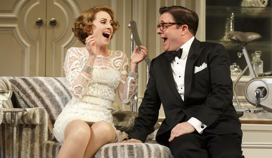 """In this image released by The O+M Company, Megan Mullally, left, and Nathan Lane appear during a performance of """"It's Only A Play,"""" in New York. (AP Photo/The O+M Company, Joan Marcus)"""