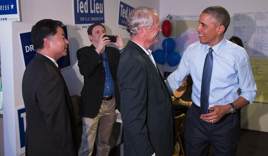 President Barack Obama, right, talks with Rep. Steve Israel, D-N.Y., during a visit to the campaign office State Senator Ted Lieu, left, who is running for Congress, on Thursday, Oct. 9, 2014, in Los Angeles. Obama is traveling in Los Angeles for an overnight trip during which he will discuss the nation's economy and designate a swath of Southern California mountains as a national monument. (AP Photo/Evan Vucci)