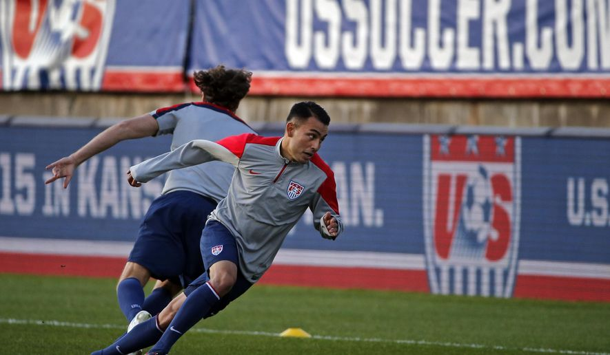 United States forward Miguel Ibarra trains with teammates at Rentschler Field in East Hartford, Conn., Thursday, Oct. 9, 2014.  The U.S. will host Ecuador in a friendly soccer match on Friday. (AP Photo/Elise Amendola)