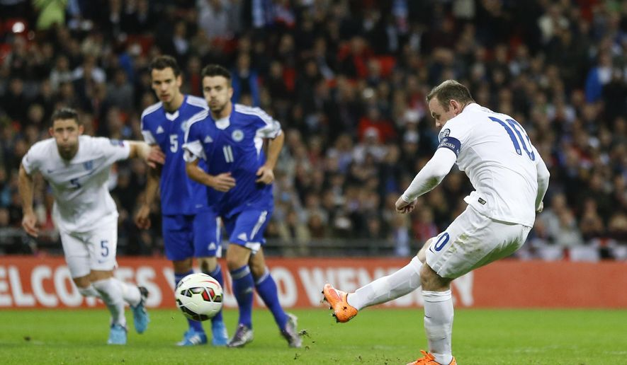 England's Wayne Rooney scores a goal during the Euro 2016 group E qualifying match between England and San Marino at Wembley stadium in London, Thursday, Oct. 9, 2014. (AP Photo/Kirsty Wigglesworth)