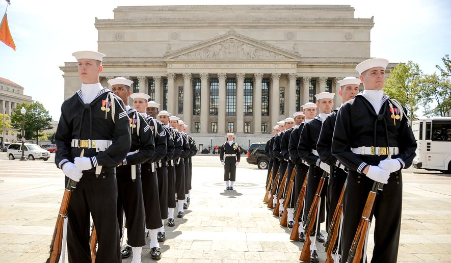 In this file photo, United States Navy Ceremonial Guard line up in formation to participate in a wreath laying ceremony to celebrate the Navy's 239th birthday at the United States Navy Memorial, Washington, D.C., Thursday, October 9, 2014. (Andrew Harnik/The Washington Times) **FILE**