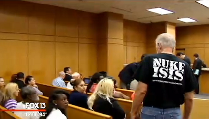 """Pastor Terry Jones, an anti-Islam Florida pastor who was arrested last year on his way to burn 3,000 Korans, showed up in Polk County court Tuesday morning wearing a """"NUKE ISIS"""" T-shirt. (FOX 13)"""