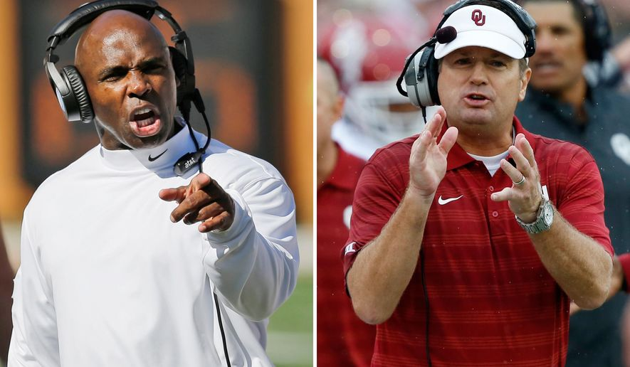 FILE - At left, in an Oct. 4, 2014, file photo, Texas head coach Charlie Strong talks to officials during the first half of an NCAA college football game against Baylor in Austin, Texas. At right, in a Sept. 6, 2014, file photo, Oklahoma head coach Bob Stoops applauds his players during an NCAA college football game in Tulsa, Okla. When Strong leads Texas through the Cotton Bowl tunnel to play No. 11 Oklahoma, he'll get his first taste of one of the fiercest rivalries in college football. Saturday will also be Strong's first matchup as a head coach against the Sooners'  Bob Stoops, whose 15-year rivalry with Mack Brown tended to overshadow the legions of future NFL players who did the blocking, tackling and scoring touchdowns on the field.  (AP Photo/File)