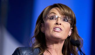 FILE - In this Sept. 26, 2014, file photo, former Alaska Gov. Sarah Palin and vice presidential candidate speaks at the 2014 Values Voter Summit in Washington. A police report released Thursday, Oct. 9, 2014, detailed a brawl that broke out at an Anchorage house party and involved members of Palin's family, including allegations that Bristol Palin punched the host several times in the face. No arrests were made, and no one wanted to press charges, according to the report into the Sept. 6 brawl. (AP Photo/Manuel Balce Ceneta, File)