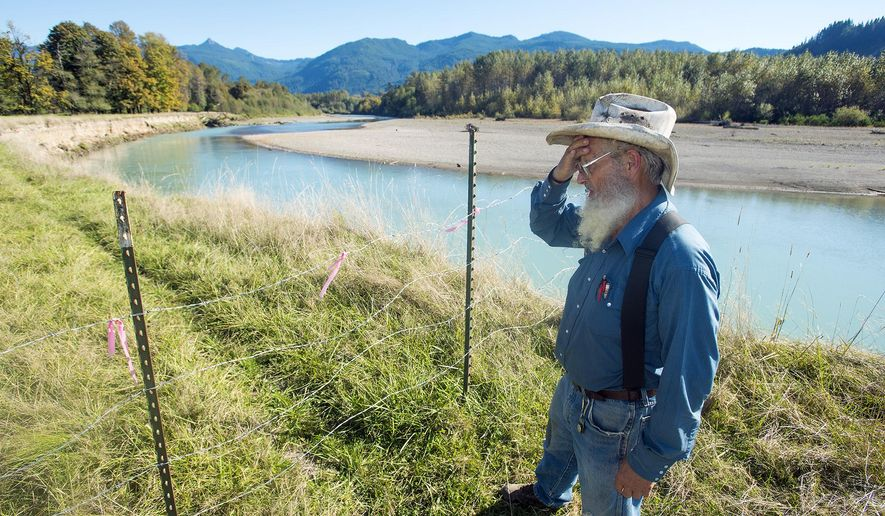 Victor Khvoroff, a cattle rancher in Randle, Wash. stands along the Cowlitz River, which runs through a portion of his 400-acre ranch, on Monday, Oct. 6, 2014. Khvoroff claims the Washington State Department of Transportation is unfairly claiming imminent domain on a portion of his land that is located between U.S. Highway 12 and the Cowlitz River. (AP Photo/The Chronicle, Pete Caster )